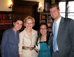 Ambassador Aldona Z. Wos, MD (second from left) with IWP interns Besa Rizvanolli (left), Cyndy Yossundharakul (second from right), and Casey Bassett, April 2009