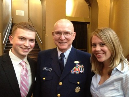 IWP interns Mike Kurmlavage and Ellen Jansen with Admiral Robert J. Papp, Jr.