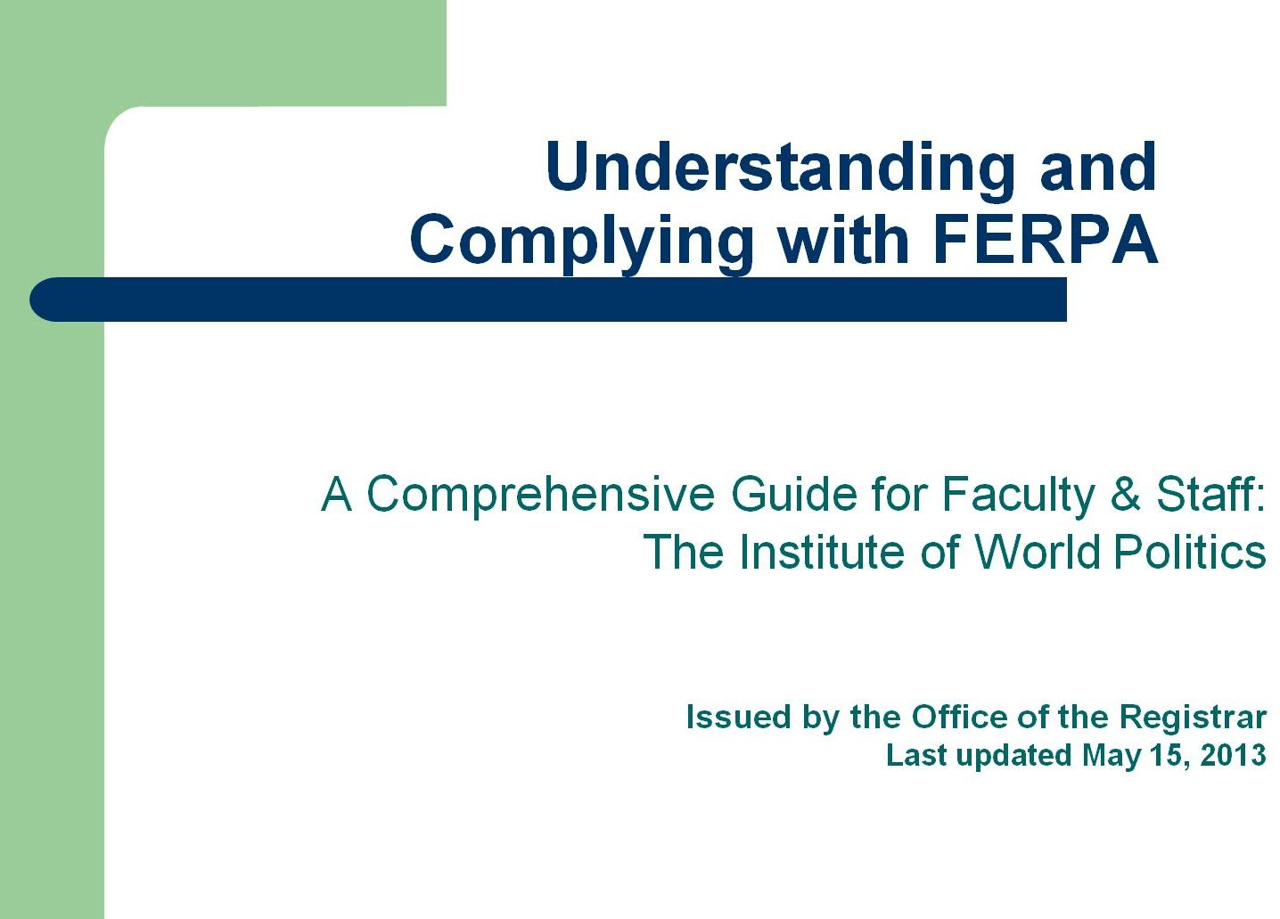 FERPA Training Guide for Faculty & Staff