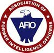 AFIO logo: Association of Former Intelligence Officers around a red circle and in center AFIO on top of blue eagle.