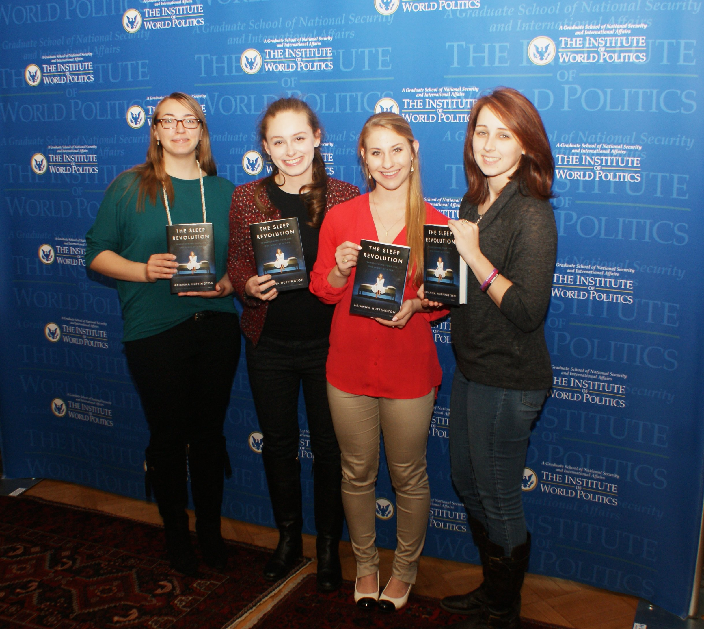 IWP students with The Sleep Revolution by Arianna Huffington