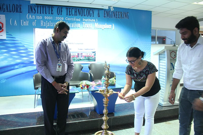 Lighting of the lamps ceremony with Olivia Goldstein at Mangalore Institute of Technology & Engineering