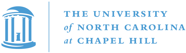 University of North Carolina at Chapel Hill logo in light blue with circular columned bulging outline on left in light blue