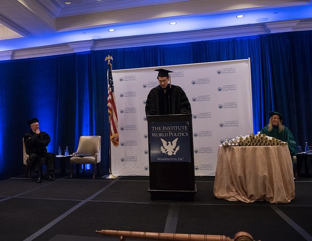 John Lenczowski, Commencement 2018, DoD photo by Army Sgt. Amber I. Smith