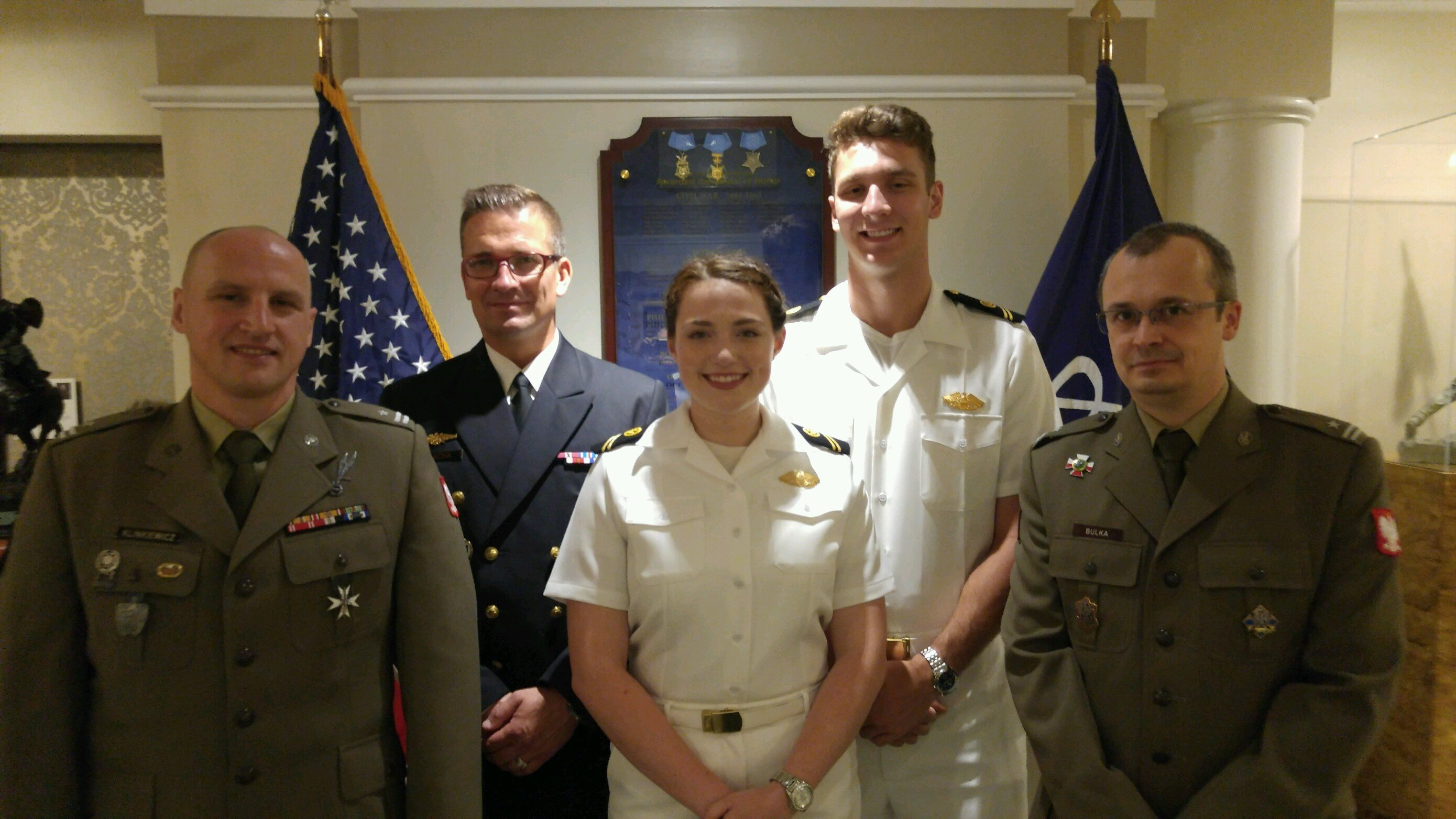 Midshipmen McFadyen and Quigley with IWP Sr. Polish Ministry of Defense Fellows at the Army Navy Club, Washington, D.C.