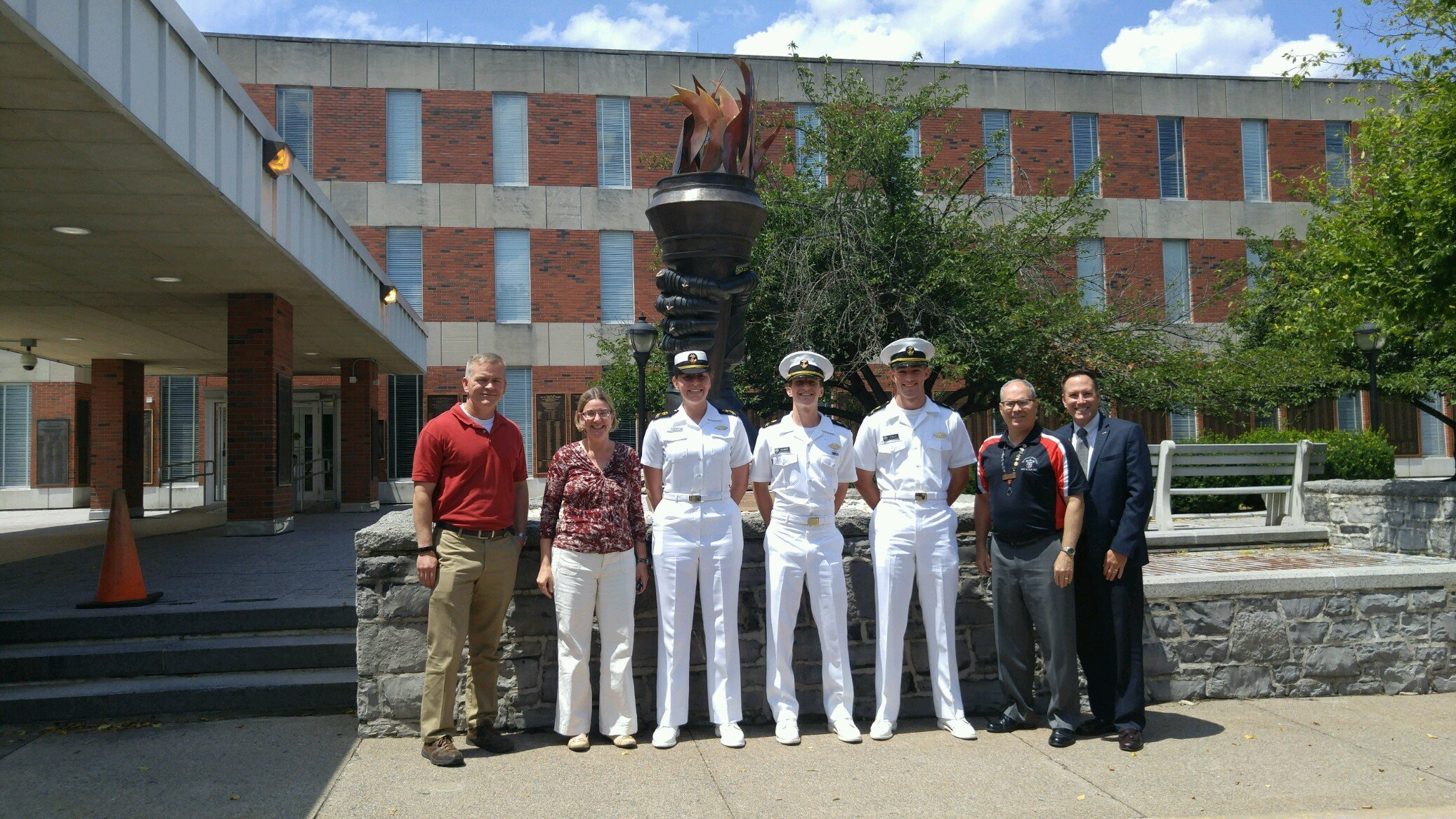 USAWC Prof. Driver, USMMA Prof. Ms. Speelman, Midshipmen Gathy, Gains and Welch, USAWC Prof. Gellert and S.VP. Glass at the U.S Army War College, Carlisle, PA