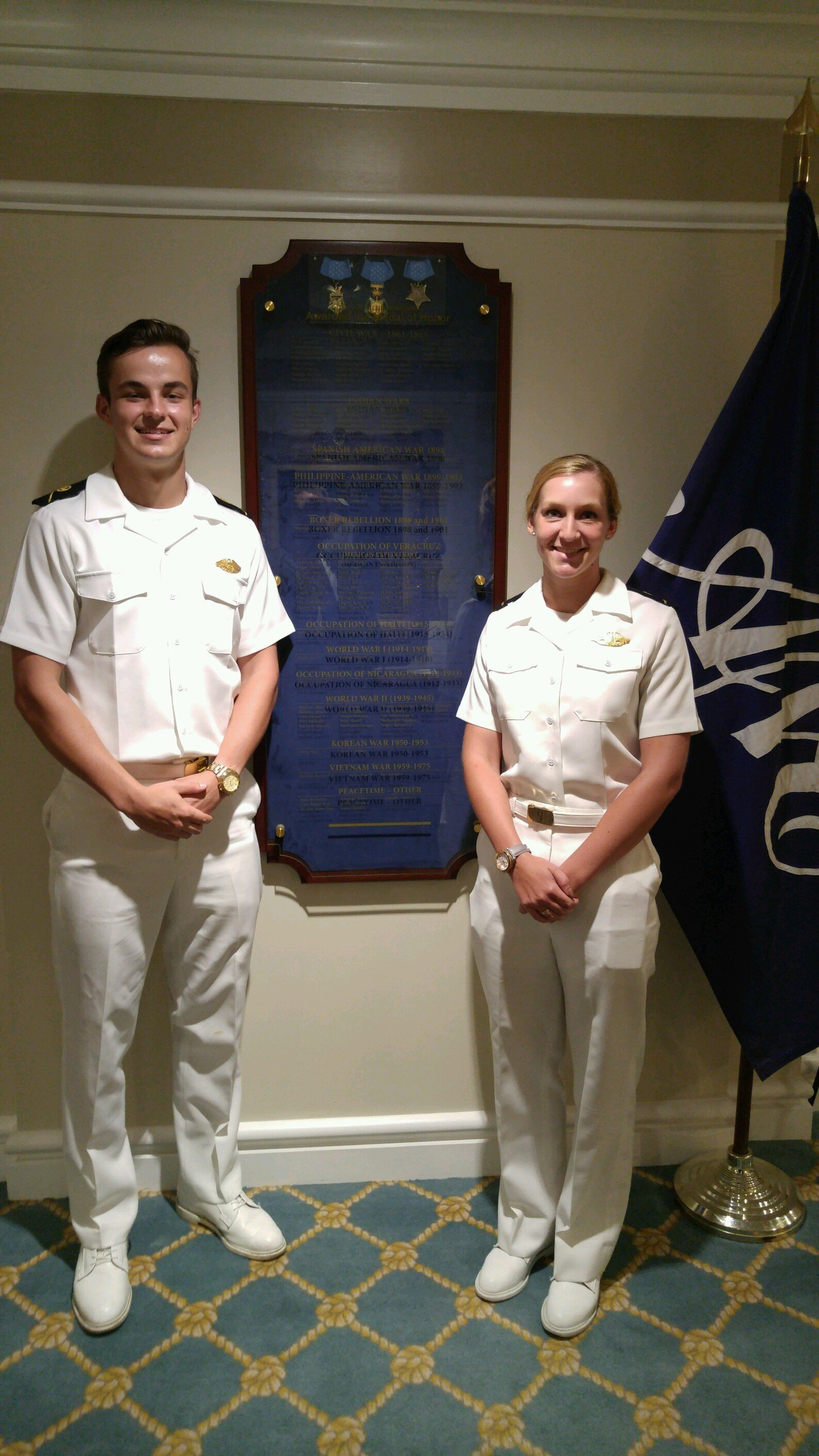 Midshipmen Carter and Bowman at the Army Navy Club, Washington DC