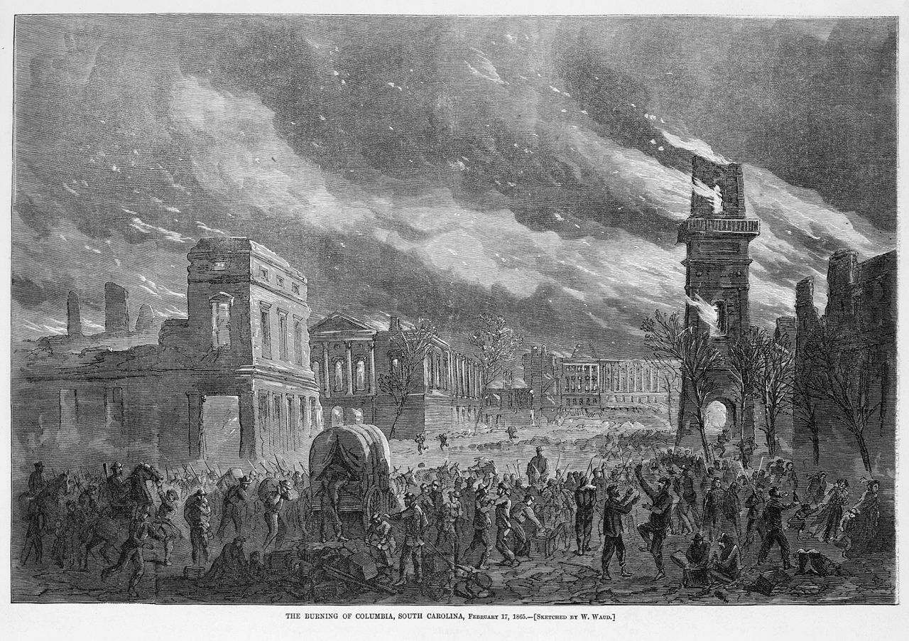 The burning of Columbia, South Carolina, February 17, 1865, by General Sherman's troops, by William Waud (d. 1878) for Harper's Weekly.