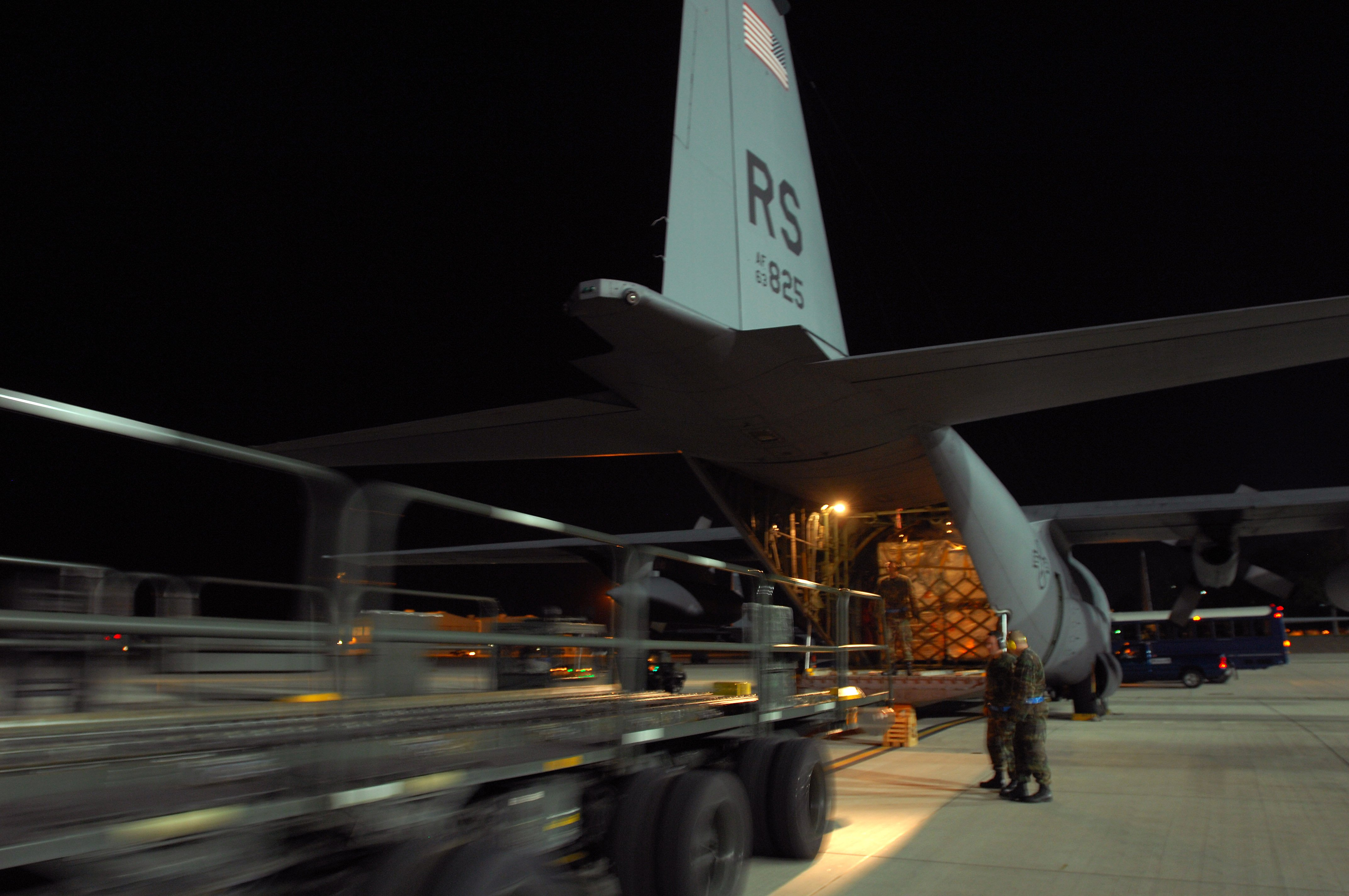 A USAF C-130 is loaded with humanitarian supplies for the Republic of Georgia at Ramstein AFB, Germany, on 14 August 2008.  Photo courtesy US Department of Defense.