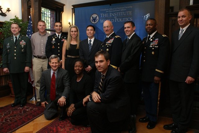 Some of the Ten-Miler runners with IWP Army students & visitors
