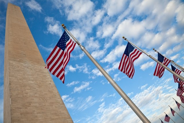 Washington Monument and Flags