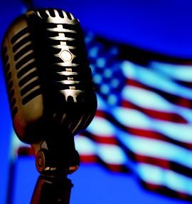 Microphone and flag, 180x190
