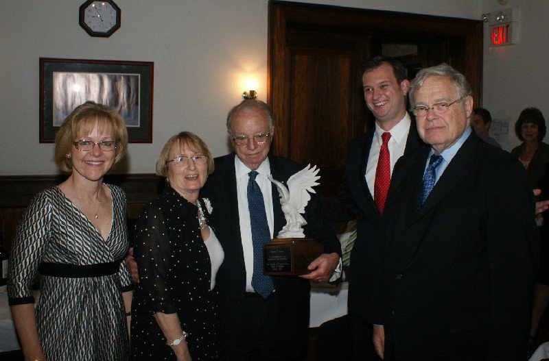 Amb. Melady receives an award at a dinner for the IWP Board of Trustees, May 2012
