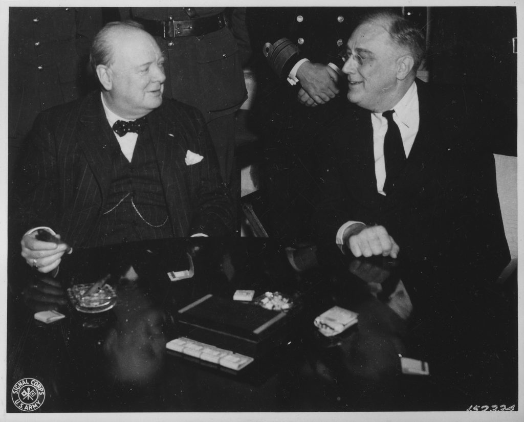 Franklin D. Roosevelt and Churchill in Casablanca