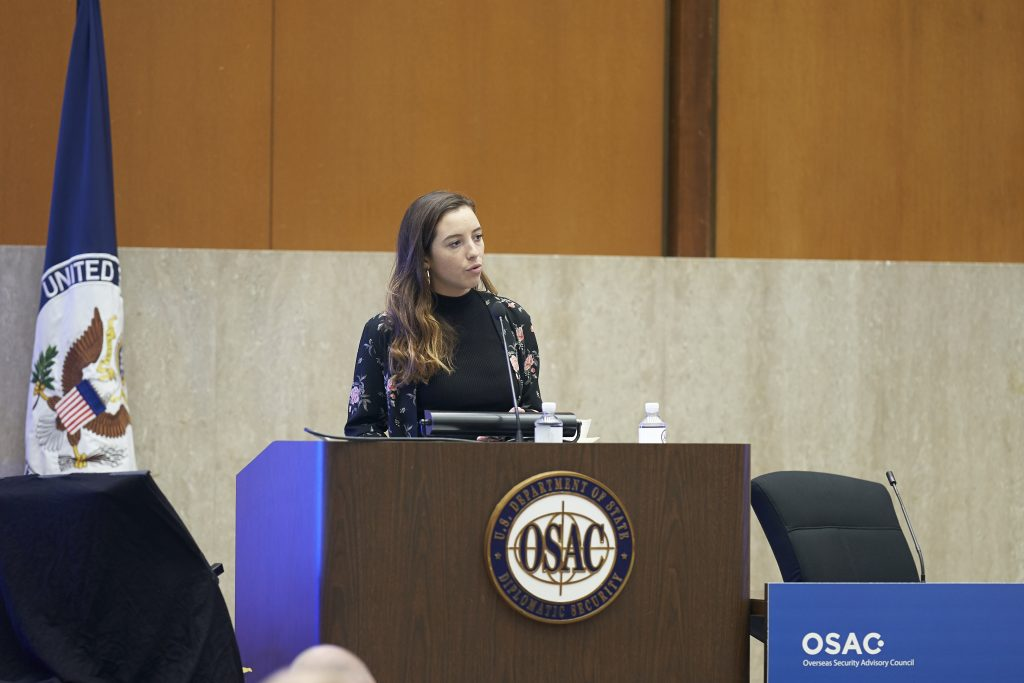Anna Macdonald speaking at State Department's OSAC 34th Annual Briefing