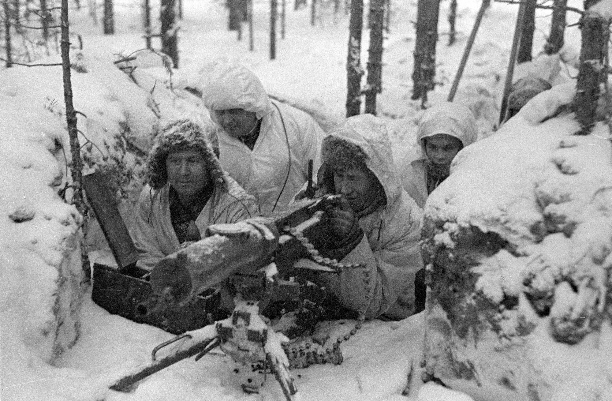 A Finnish Maxim M-32 machine gun nest during the Winter War, Photo courtesy of the Military Museum of Finland
