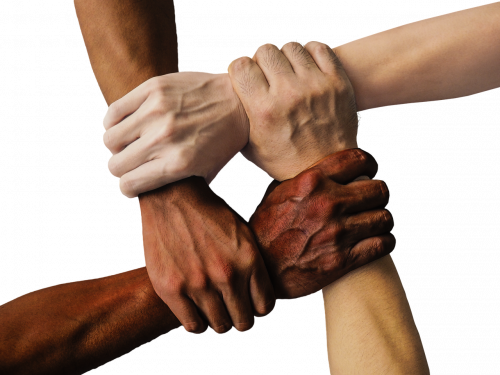 Diverse hands holding each other