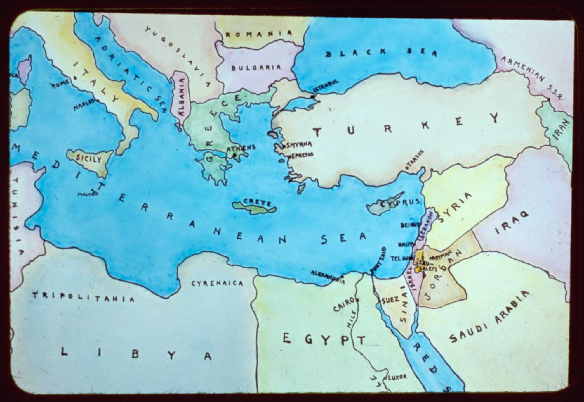 Map of the eastern Mediterranean and surrounding countries