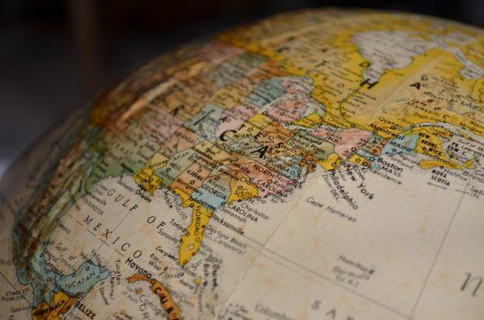 Globe showing USA