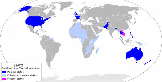 Map of SEATO Member Countries