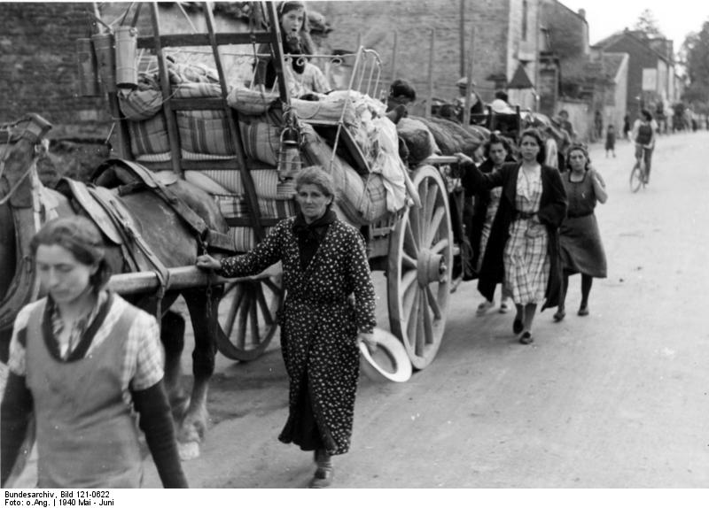 French refugees with loaded horse-drawn carts