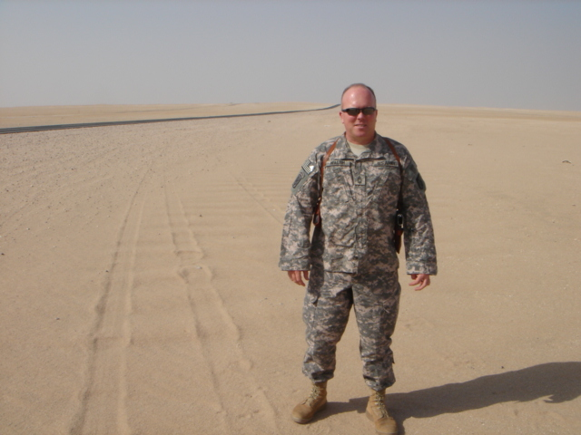 John Walsh in the northern Kuwait desert near the Iraq border