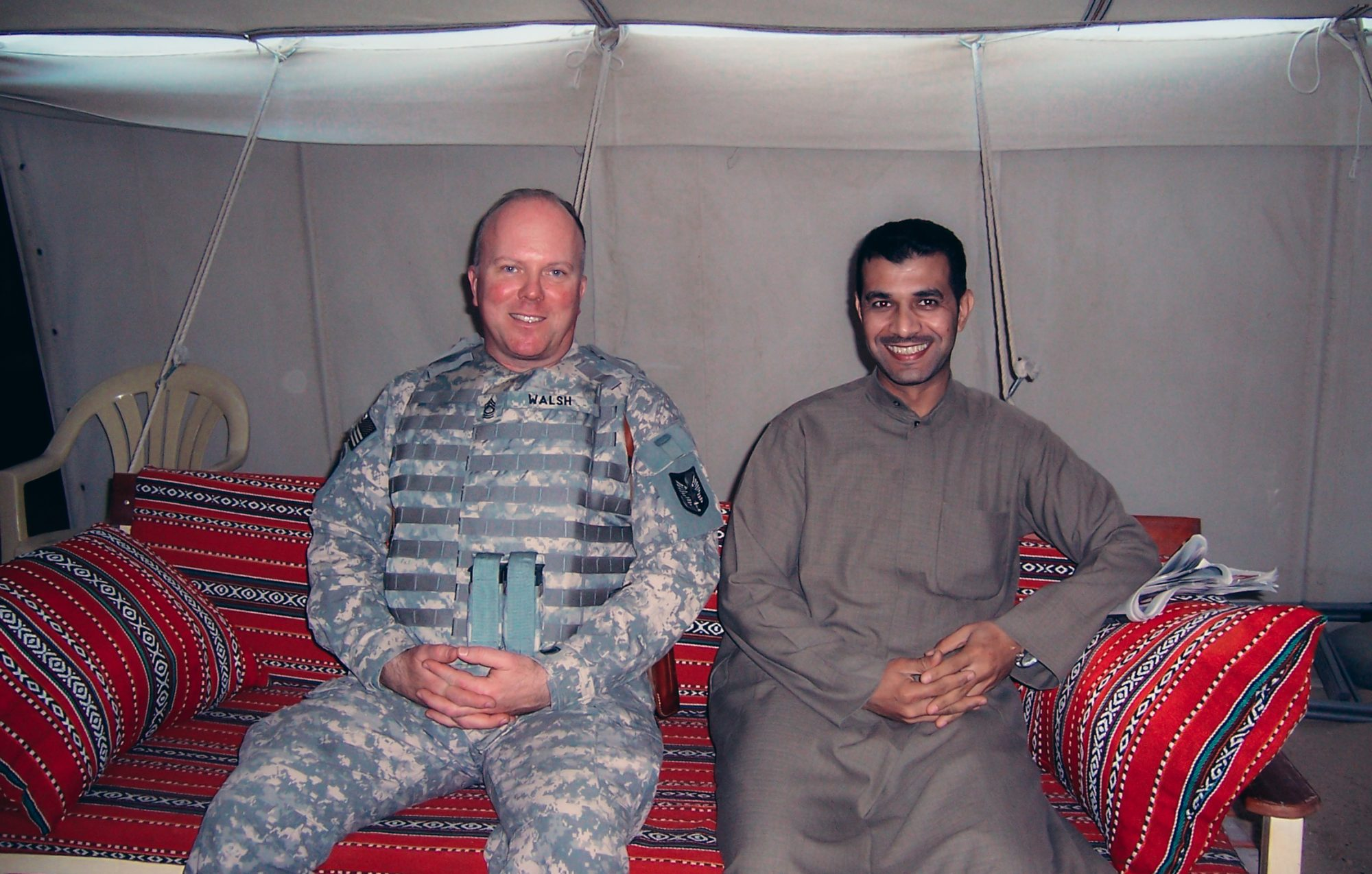 John Walsh with a Kuwaiti national in his desert camp