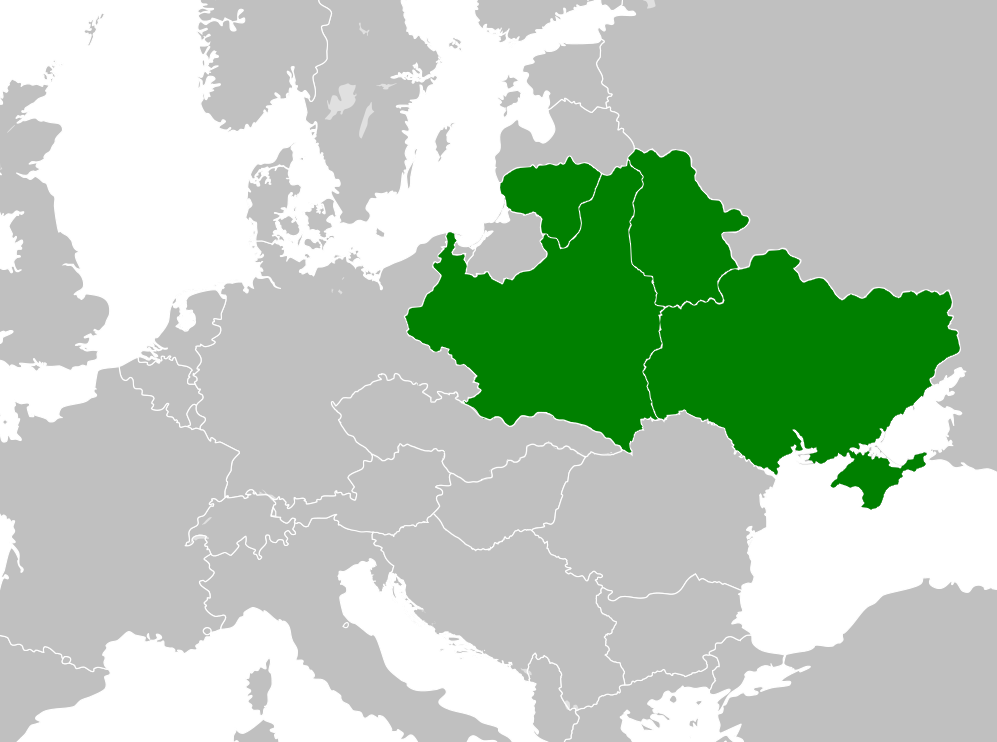 Map of the initial plan of the Intermarium