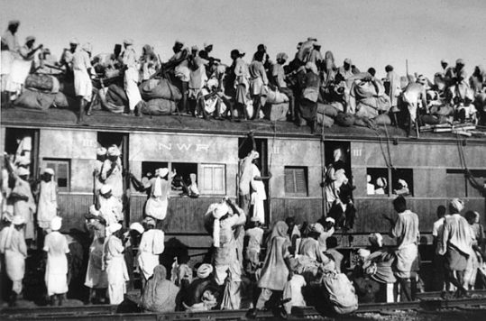Overcrowded train transferring refugees during the partition of India, 1947