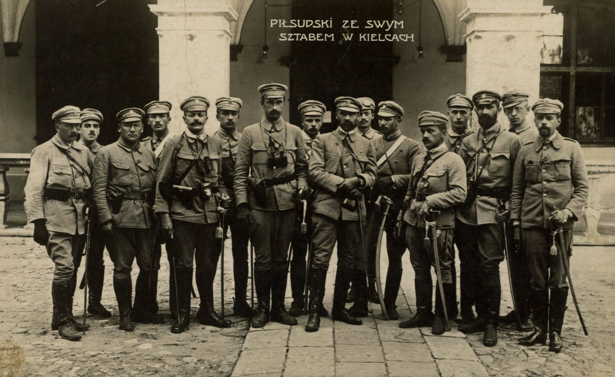 Col. Józef Piłsudski with his staff in front of the Governor's Palace in Kielce, 1914