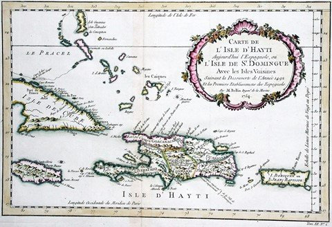 Bellin's 1765 map of Spanish possessions in the Caribbean