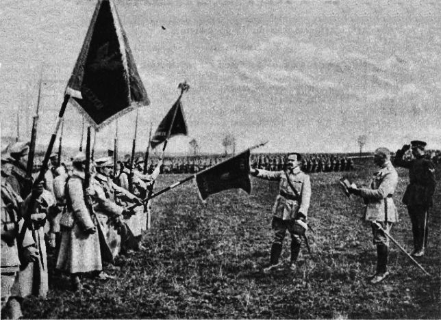 General Józef Haller (touching the flag) and his Blue Army 1918-1922