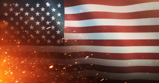 Flag of the United States of America - Crisis / War / Fire